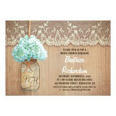 rustic mason jar turquoise hydrangea bridal shower card #rusticbridalshowerinvitations #countrybridalshowerinvitations Mason Jar Wedding Invitations, Rustic Bridal Shower Invitations, Engagement Party Invitations, Bridal Shower Rustic, Dinner Invitations, Custom Invitations, Invitation Templates, Bridal Showers, Personalized Invitations