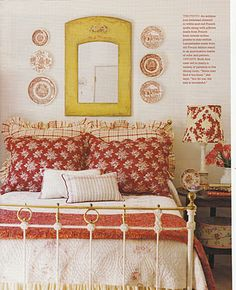French Country bedroom- Love the yellow with red and white