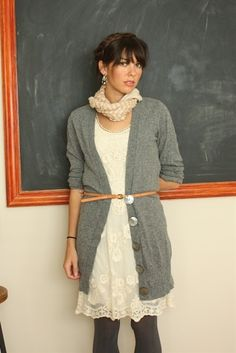 """""""boyfriend cardigan and lace dress - Click image to find more fashion posts"""" Style idea for my burgundy dress with black cardy"""