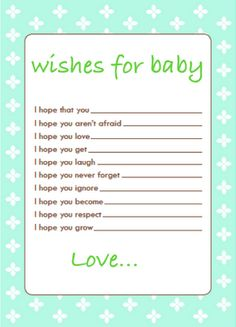 wishes for baby printable