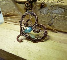 Wire wrap heart pendant with blue bead Heart necklace Copper pendant Handmade copper jewelry OOAK Wire wrapped necklace Valentines gift