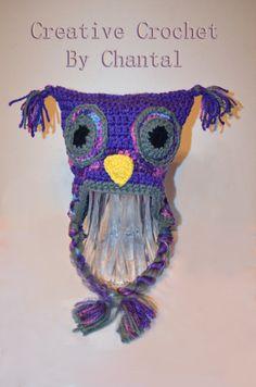 Purple square crochet hat Crochet Owl Hat, Captain Hat, Purple, Creative, Bricolage, Viola