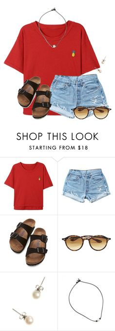 """~you are a fineapple~"" by flroasburn on Polyvore featuring Levi's, Birkenstock, Ray-Ban and J.Crew"