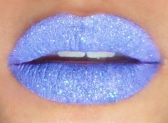 "Lavender Sparkle ""Stick-On"" Lips —- I applied a layer of pale lilac lipstick (D'Lilac) to the lips, and then used a flat shadow brush to press a lavender glitter all over the lips. This is all nice and fun, but it's probably not a good idea to go for dinn Lilac Lipstick, Lipstick Art, Pink Lips, Lipstick Colors, Lip Colors, Lipsticks, Lip Makeup, Beauty Makeup, Makeup Box"