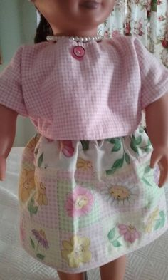 """Spring 18"""" Doll Clothes Spring Smiley Faces Flowers on Skirt, Pink Shirt by GrammiesThisandThat on Etsy"""