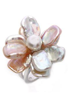 Freshwater Pearl Flower Ring.