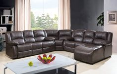 4 pc Townsend  II collection brown leather aire upholstered sectional sofa with 3 built in recliners and chaise