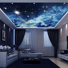 White Clouds Night Sky Wallpaper Wall Decals Wall Art Print Business Kids Wall Paper Nursery Mural Home Decor Removable Wall Stickers Ceiling Decal Ceiling Murals, Sky Ceiling, Ceiling Installation, Ceiling Lights, Ceiling Beams, Plafond Design, Bed In Living Room, False Ceiling Design, Dream Rooms