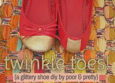 Learn how to make your very own (very cute) glittery cap-toe shoes! #DIY