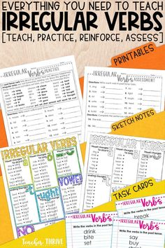 This week-long unit includes everything you need to teach irregular verbs: PowerPoint mini-lesson, practice printable, sketch notes, assessment, and bonus interactive notebook activity. Perfect for grade grammar standards. Teaching Verbs, Teaching English Grammar, Teaching 5th Grade, 3rd Grade Writing, Third Grade, Teaching Resources, Teaching Ideas, Speech And Language, Language Arts