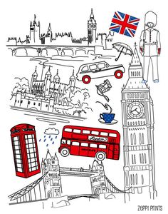 Items similar to British Guards London Bus Big Ben Union Jack tea Kids Room Art Print Red Royal Blue England English UK wall decor on Etsy London Drawing, Big Ben London, London Bus, Kids Room Art, Filofax, Journal Inspiration, Travel Posters, Doodles, Art Prints