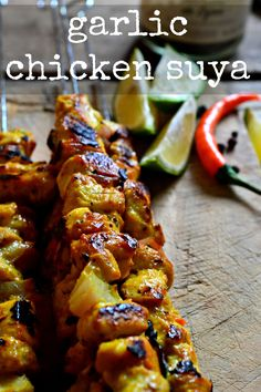 Garlic Chicken Suya My Spicy and very tender chicken suya with flavors form west Africa and lots of my favorite herb: garlic. Grilling Recipes, Cooking Recipes, Grilling Ideas, Atkins Recipes, West African Food, Caribbean Recipes, Garlic Chicken, Chicken Couscous, International Recipes