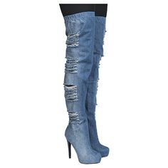 Women's Thigh-High High Heel Boot Malina Denim Blue | Shiekh Shoes