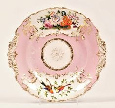 Antique Russian Imperial Porcelain Pink Plate Nicholas I Flowers and Birds #neorococo #ImperialPorcelainFactory