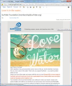 Surfrider Foundation - Email Campaign Email Campaign, E Cards, Non Profit, Fundraising, Foundation, Valentines, Blog, Ideas, Valentine's Day Diy