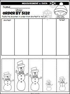 "Winter Snowmen Order By Size is a cut and paste activity that is perfect for any winter month. Of course, you can use any ""real"" objects to teach ordering by size. Measurement Kindergarten, Kindergarten Classroom, Classroom Activities, Preschool Christmas, Preschool Winter, Winter Theme, Snow Theme, Winter Activities, Numeracy"