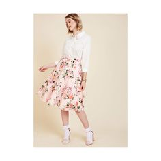 Vintage Inspired Long Bugle Joy Skirt ($60) ❤ liked on Polyvore featuring skirts, apparel, bottoms, full skirt, pink, pink a line skirt, patterned maxi skirt, flower print skirt and a-line skirt