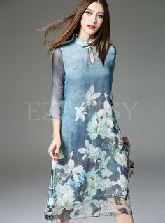 Shop Mandarin Collar Print Dress at EZPOPSY. Collar Styles, Clothing Patterns, Sewing Patterns, Mandarin Collar, Fashion Over 50, Petite Fashion, Traditional Dresses, Dresses Online, Fashion Online