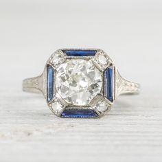 1.17 Carat Art Deco Diamond & Sapphire Engagement Ring