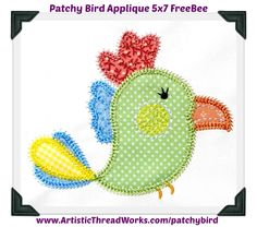 "Download free ""Applique Patchy Bird 5x7"" design today! Bird Applique, Embroidery Applique, Applique Designs, Machine Embroidery Designs, Welcome Winter, Christmas Mason Jars, Awareness Ribbons, Bird Design, Baby Quilts"