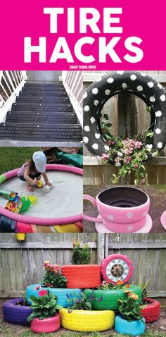 Garden Ideas Using Old Tires did this project today! we had these old tires sitting for years