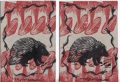 porcupines, mushrooms, and snakes...   hand carved rubber stamps used to make postcards for free art friday distribution