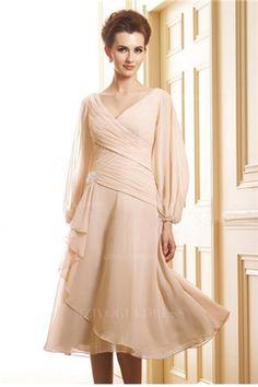 A-Line/Princess V-neck Tea-length Chiffon Mother of the Bride Dress