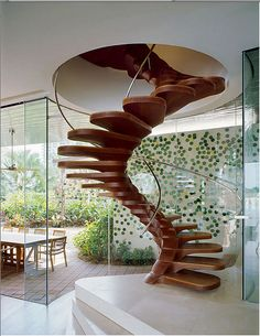 modern staircase #chic #interiors reminds me of a spine. the staircase is the backbone of this home