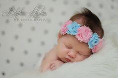 Newborn Halo... Newborn headband... Shabby flower halo... Photography Prop. $13.95, via Etsy.