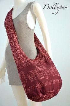 Cabernet Sauvignon Cotton Printed Standing Elephants Crossbody Shoulder Hippie Boho Hobo Messenger Bag E131