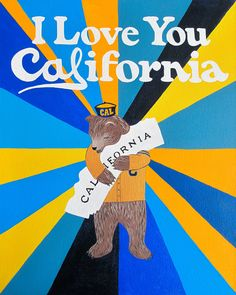 Our I Love You California Oski Print celebrates UC Berkeley's ursine mascot. Designed by Annie Galvin at 3 Fish Studios in San Francisco, California, and printed on-site in the Outer Sunset with 8-color UltraChrome K3™ inks on 300 gsm Hot Press Bright paper. Archival, highest possible quality.