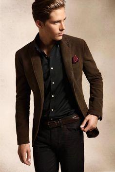 Corduroy jacket, black shirt and pants, pocket square
