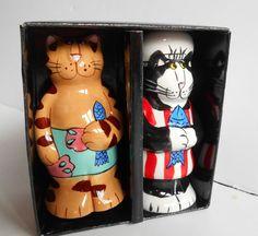 "Catzilla CHEF CATS Salt & Pepper Shakers Ceramic Candice Reiter 4""H New Open Box"