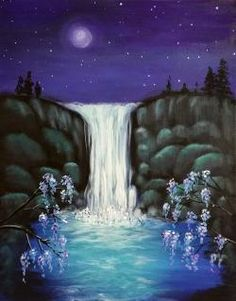Moonlit Waterfalls Graffiti Paintbar - Uncork Your Inner Artist!