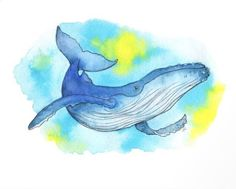 Watercolor Whale, Easy Watercolor, Watercolor Paintings, French Bulldog Art, Whale Art, Image Cat, Art Journal Techniques, Humpback Whale, Drawing People