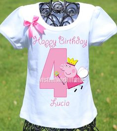 An adorable custom Peppa Pig birthday shirt personalized with your child's name and age. All shirts are 100% cotton. I use aprofessional heat press to transfe