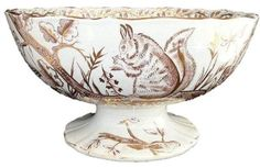 """John Meir (1812-1836) """"Flora Pattern"""" 10 inch plate, ca. 1825.      January 21 is National Squirrel Day. As I have mentioned before, t..."""