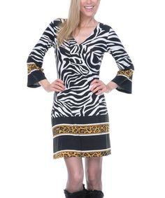 Black & White Jungle V-Neck Dress