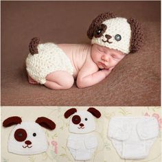 Newborn Baby Boys Crochet Knit Costume Puppy Dog Hat Photography Prop Outfits