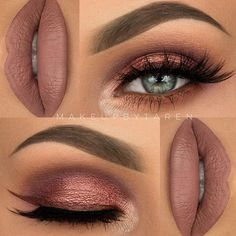 Makeup - Nude Pink Lipstick, Pink, Gold, Purple & Brown Smokey Eyeshadow with Black Winged Eyeliner & Mascara Gorgeous Makeup, Pretty Makeup, Love Makeup, Makeup Inspo, Makeup Inspiration, Makeup Goals, Makeup Tips, Makeup Ideas, Kiss Makeup