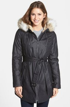 Laundry by Shelli Segal Faux Fur Trim Belted Parka $78.98 50% OFF!