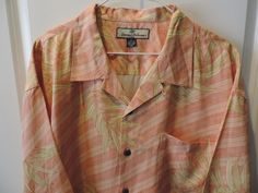 Tommy Bahama Mens Designer Light Orange Floral Hawaiian Pocket Shirt XL Mint #TommyBahama #Hawaiian