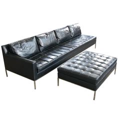 Vintage Chrome Base Tufted Sofa & Ottoman by Harvey Probber  USA  1950's  an outstanding vintage 1950's long single arm sofa and matching large ottoman designed by Harvey Probber.