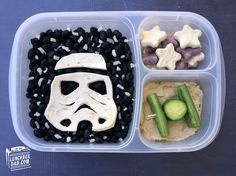 Star Wars Stormtrooper Bento Lunch from LunchBox Dad on 4 The Love Of Family Granola, Grilled Chicken Strips, Hummus, Star Wars Christmas, Christmas Lunch, Star Wars Kids, Dessert, Comedy Central, Kids Meals