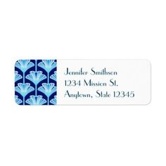 Art Deco Lily Cobalt Blue Aqua and White Label  $3.30  by Deco_Cats  - custom gift idea