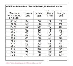 Achei bastante útil postar esta tabela de medidas para casaquinhos,eu mesma as vezes me perco.   E notei que na maioria das receitas de pal...