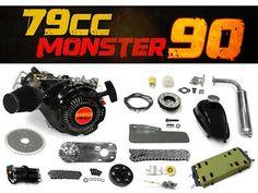 78.5cc Monster 90 Bike Engine Kit - Complete 4-Stroke Kit   eBay Bicycle Engine Kit, How To Save Gas, Cnc Parts, Motorised Bike, Drift Trike, Motorized Bicycle, Belt Drive, Mini Bike, W 6