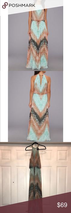 Vince Camuto Chevron Snake Blousin Maxi w/ Chain Vince Camuto Chevron Snake Blousin Maxi w/ Chain Halter Size 14 Beautiful dress, fully lined. It has a very regal, flowy, Egyptian feel! Gold chain style halter neckline.  Worn twice, perfect like-new condition! Vince Camuto Dresses Maxi