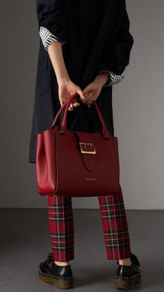 The Medium Buckle Tote in Grainy Leather in Parade Red - Women Burberry United States , Burberry Handbags, Chanel Handbags, Burberry Bags, Women's Handbags, Leather Handbags, Fashion Bags, High Fashion, Womens Fashion, Red Tote Bag