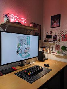 Dumplings anyone? Computer Desk Setup, Gaming Room Setup, Pc Desk, Pc Setup, Cool Gaming Setups, Gamer Setup, Bedroom Setup, Room Ideas Bedroom, Home Office Setup